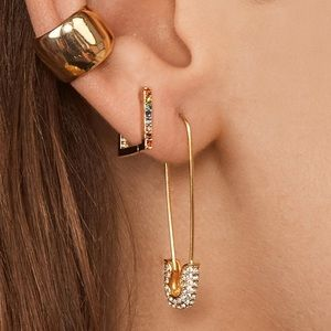 🆕 Crystal Safety Pin Earrings